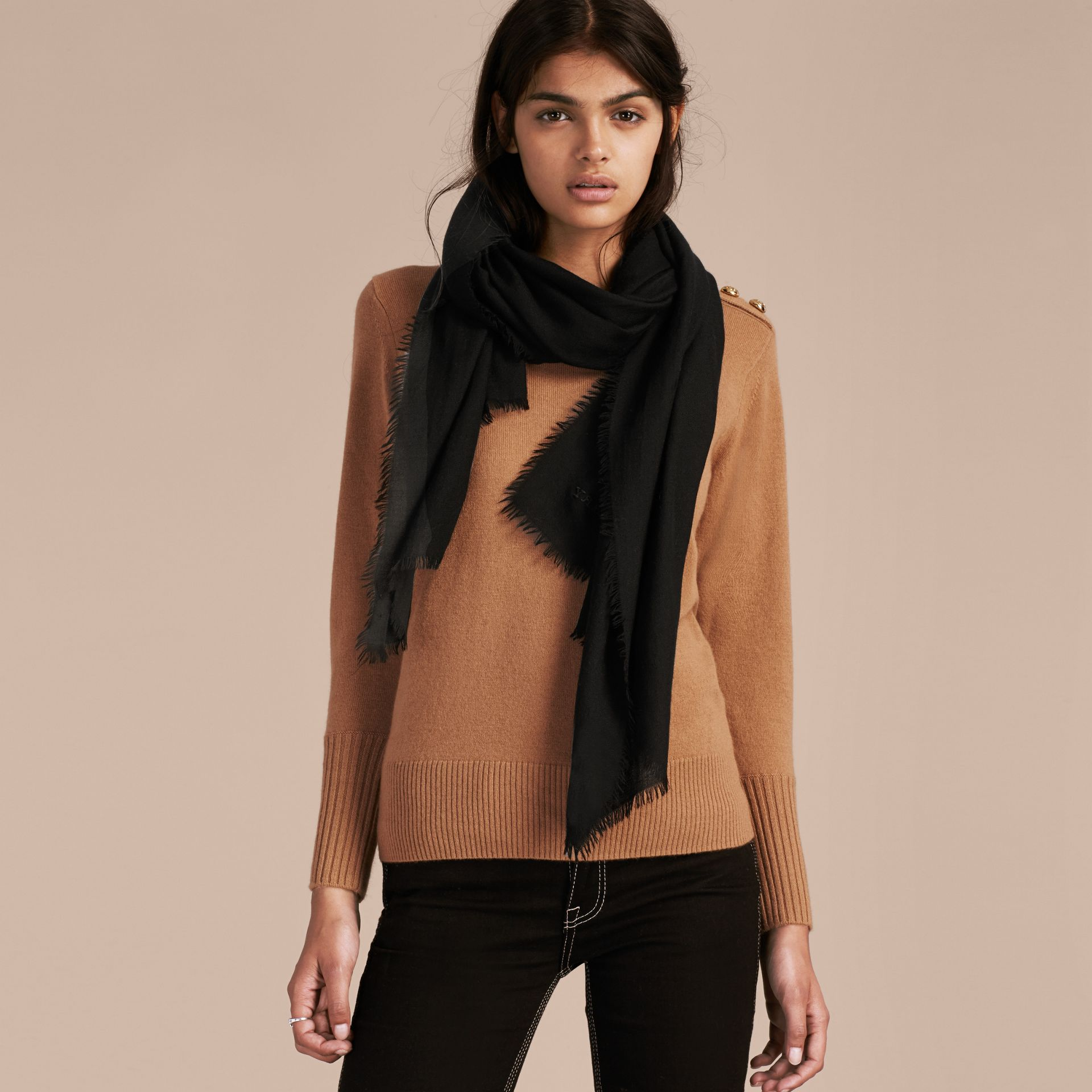 The Lightweight Cashmere Scarf in Black - gallery image 3