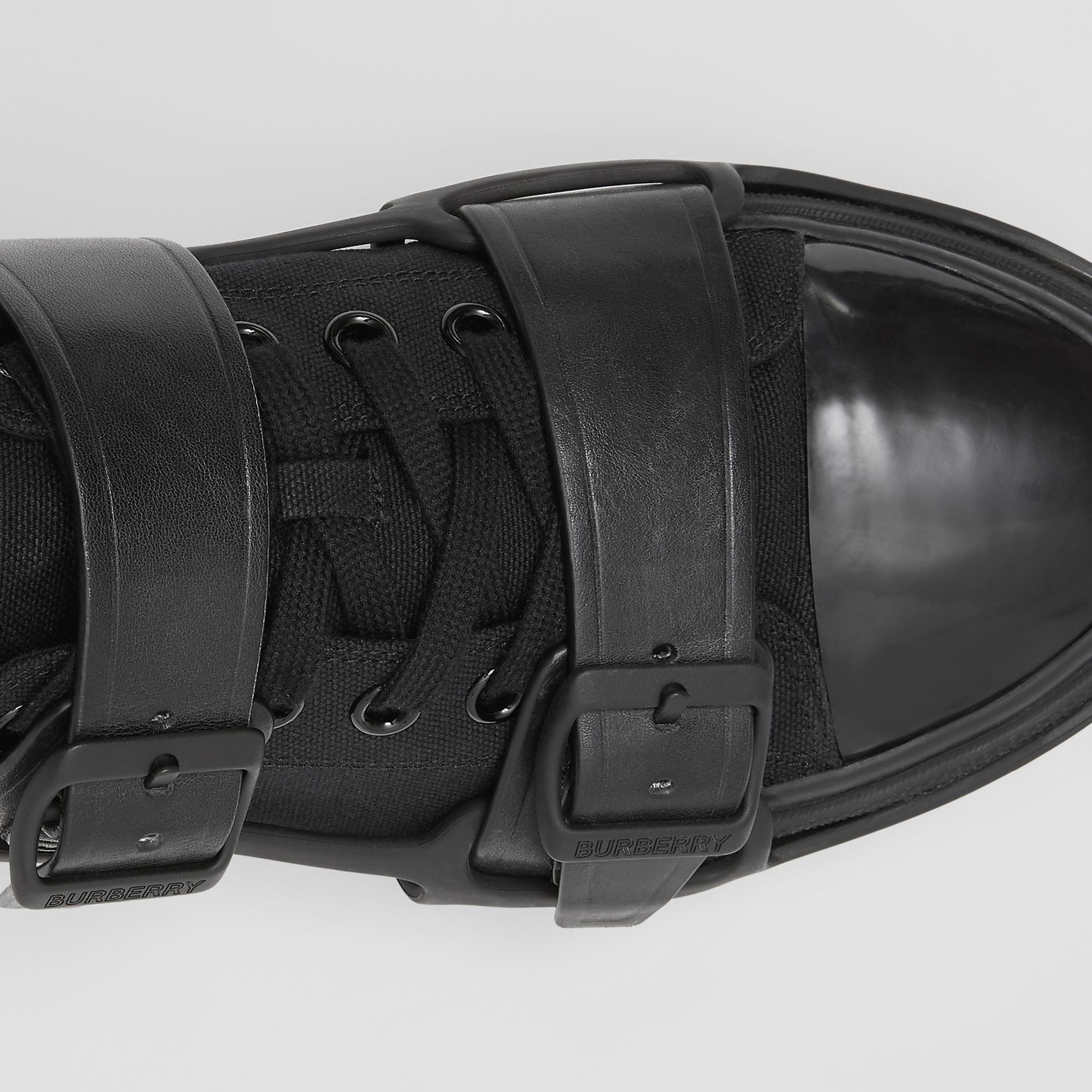 Cotton and Leather Webb Sneakers in Black | Burberry - gallery image 1