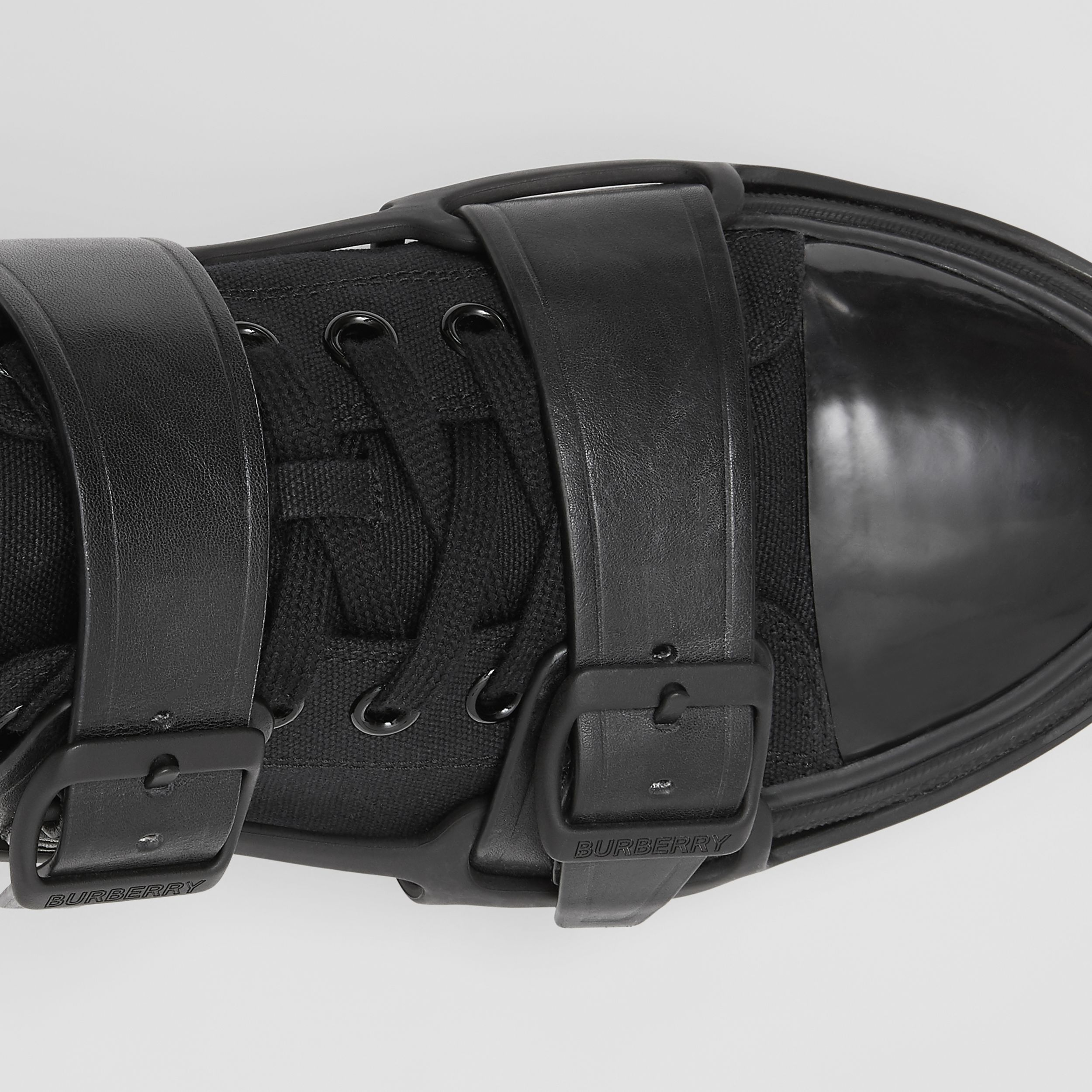 Cotton and Leather Webb Sneakers in Black - Men | Burberry - 2