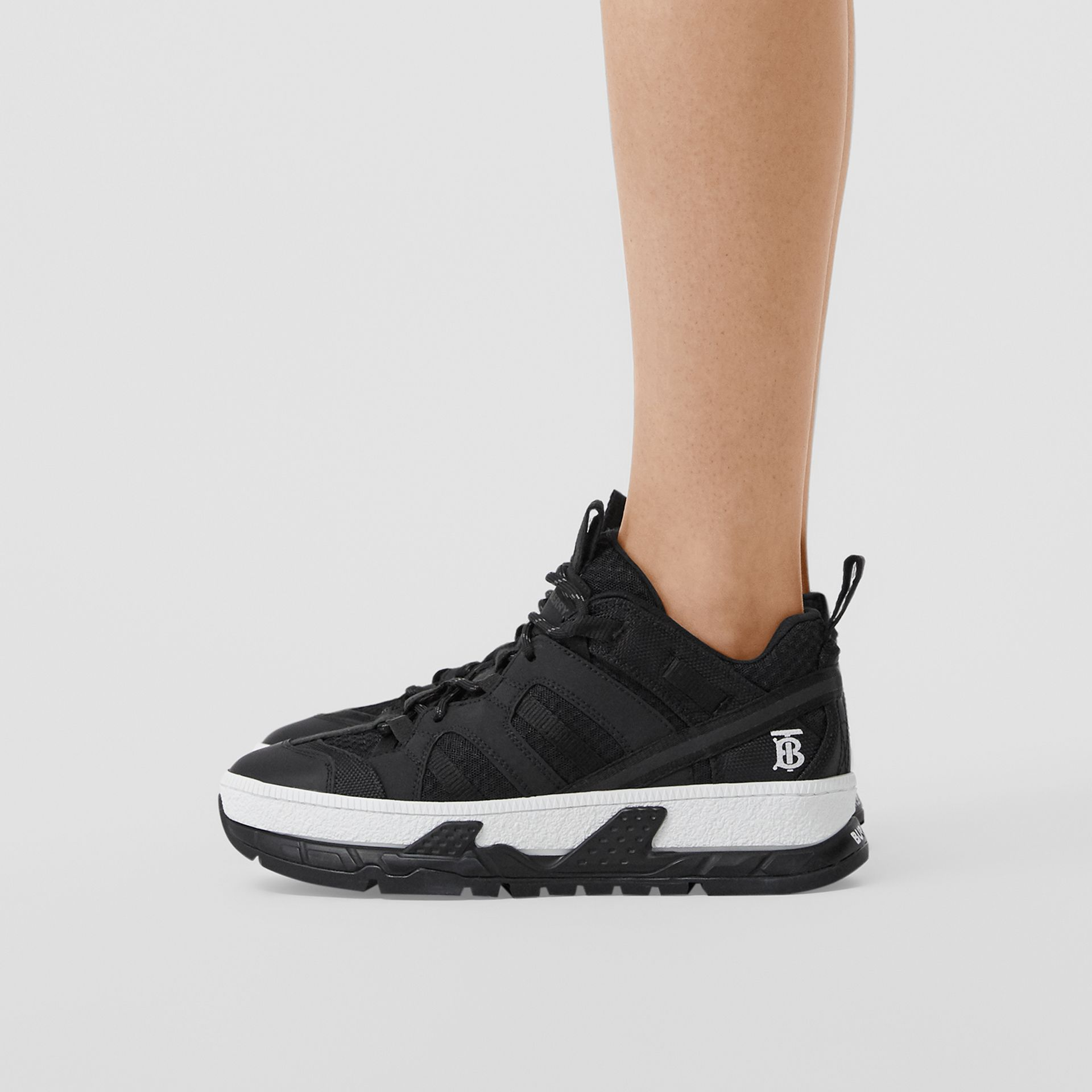 Mesh and Nubuck Union Sneakers in Black - Women | Burberry Australia - gallery image 2
