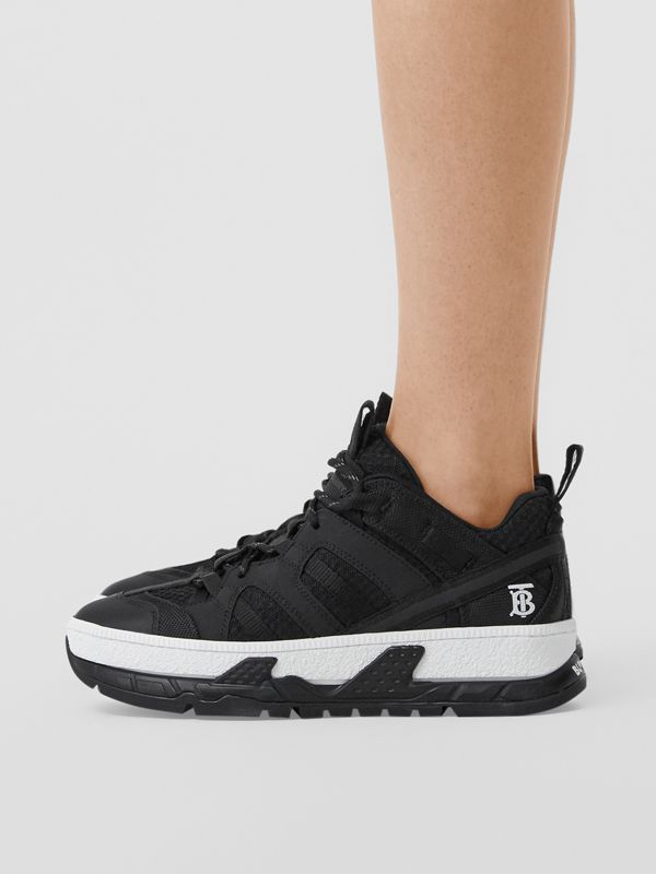 Mesh and Nubuck Union Sneakers in Black - Women | Burberry Australia - cell image 2