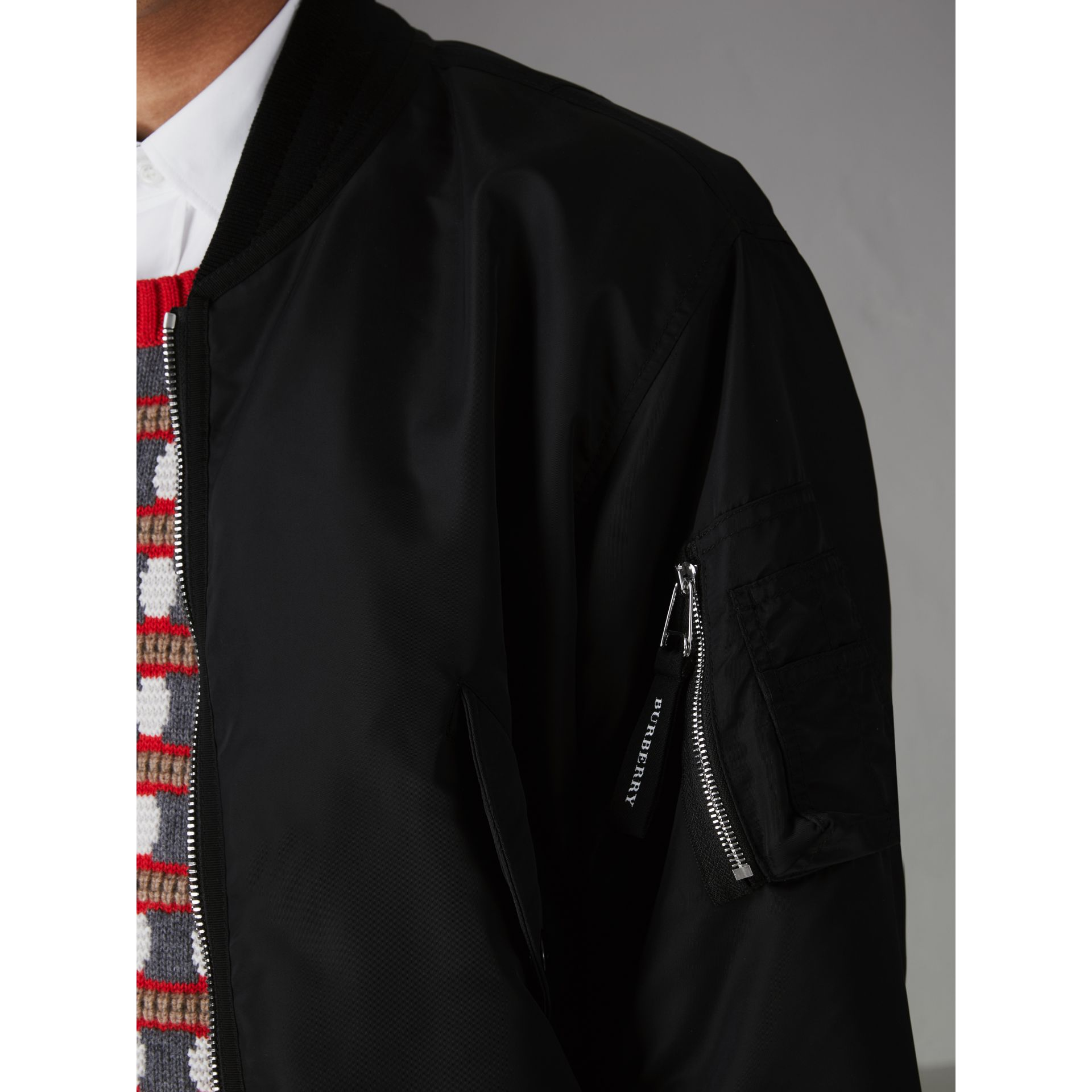 Nylon Bomber Jacket in Black | Burberry - gallery image 1