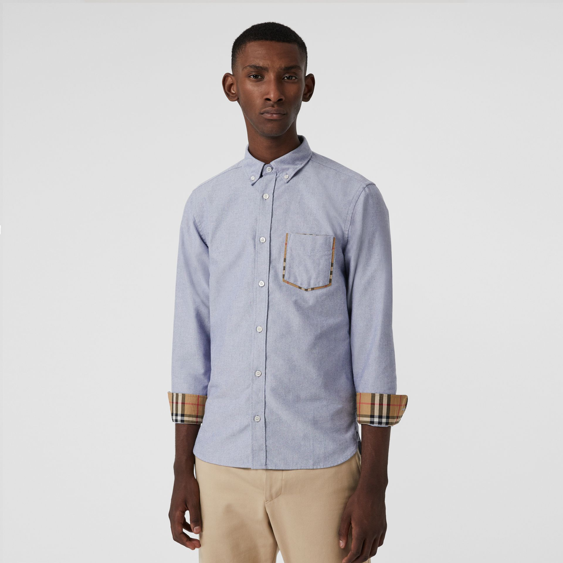 Check Detail Cotton Oxford Shirt in Mineral Blue - Men | Burberry Canada - gallery image 0