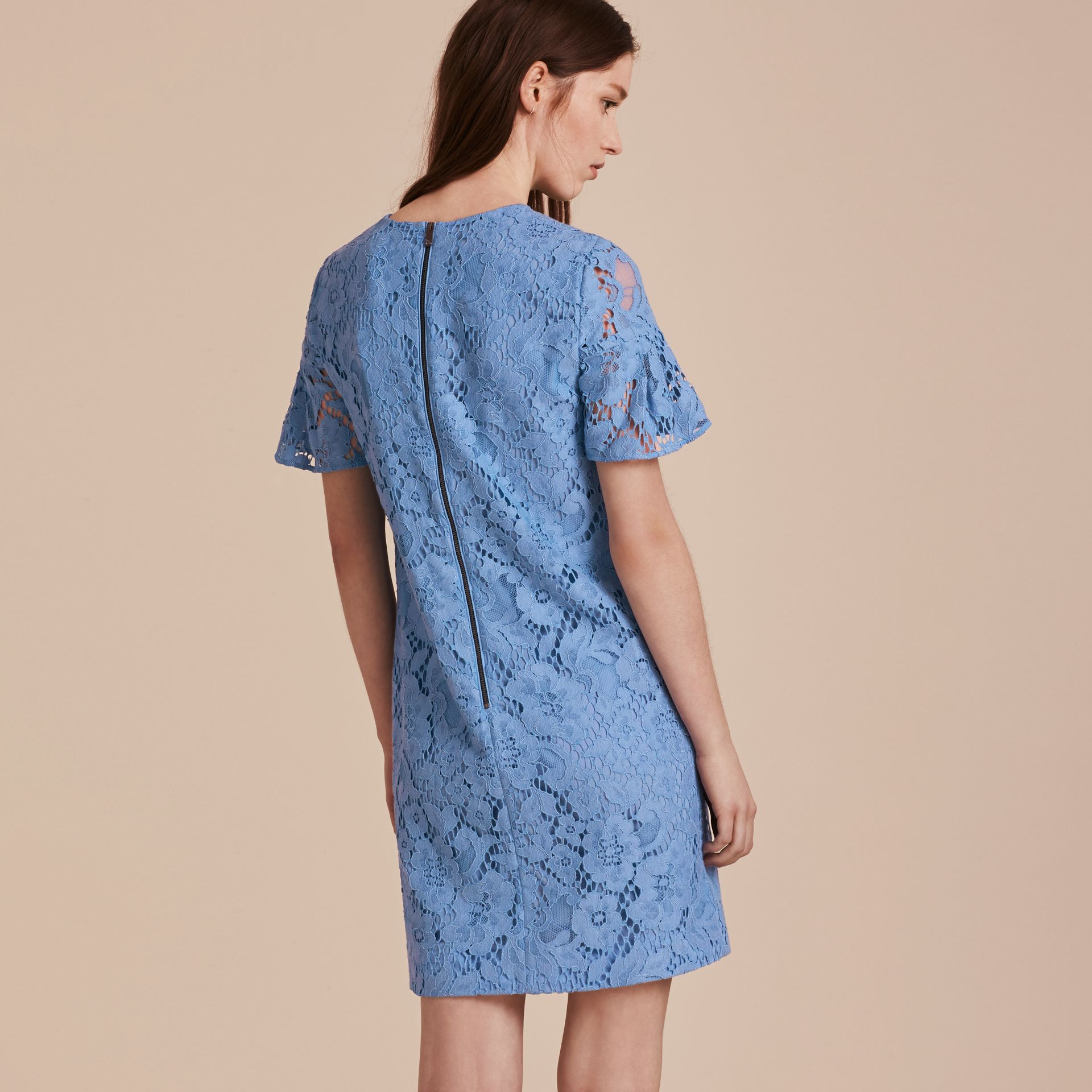 Cornflower Macramé Lace Short Shift Dress with Ruffle Sleeves Cornflower - gallery image 3