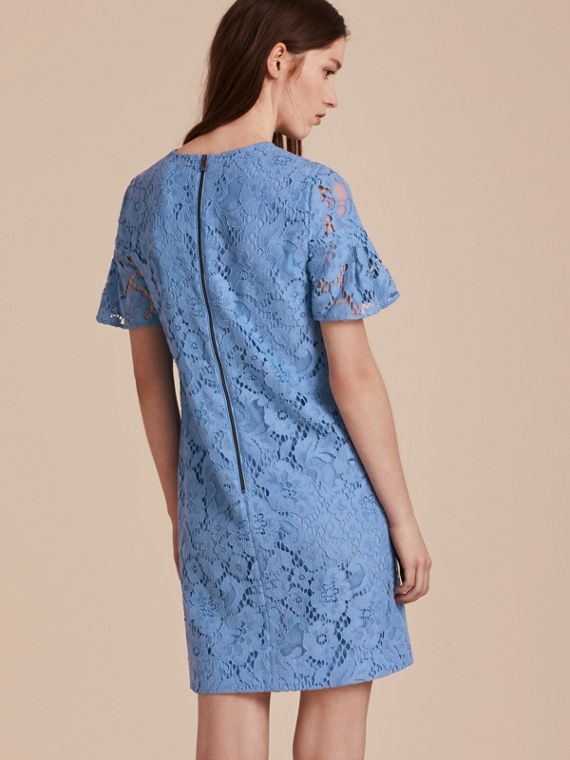 Macramé Lace Short Shift Dress with Ruffle Sleeves - cell image 2