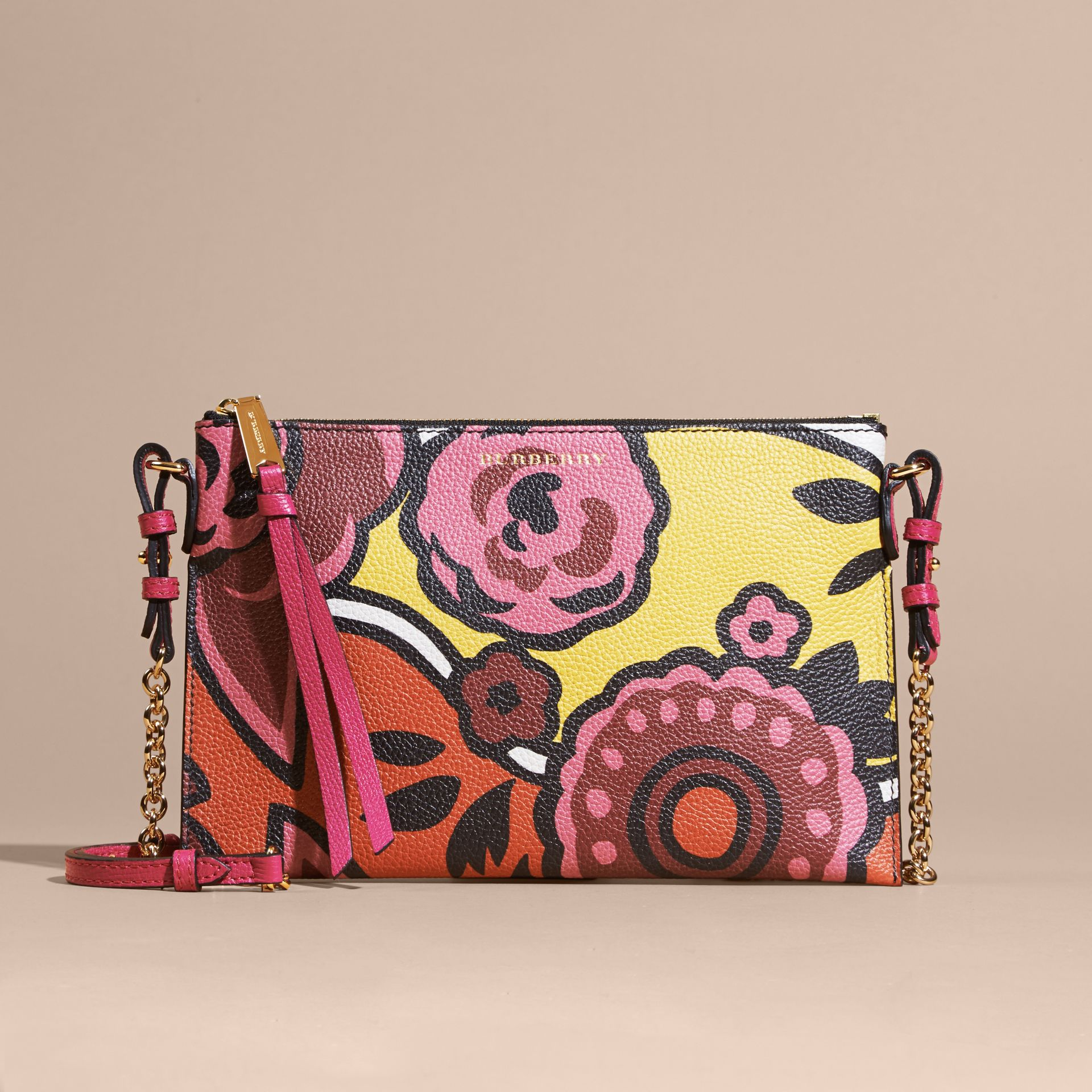 Floral Print Leather Clutch Bag in Vibrant Orange - gallery image 9