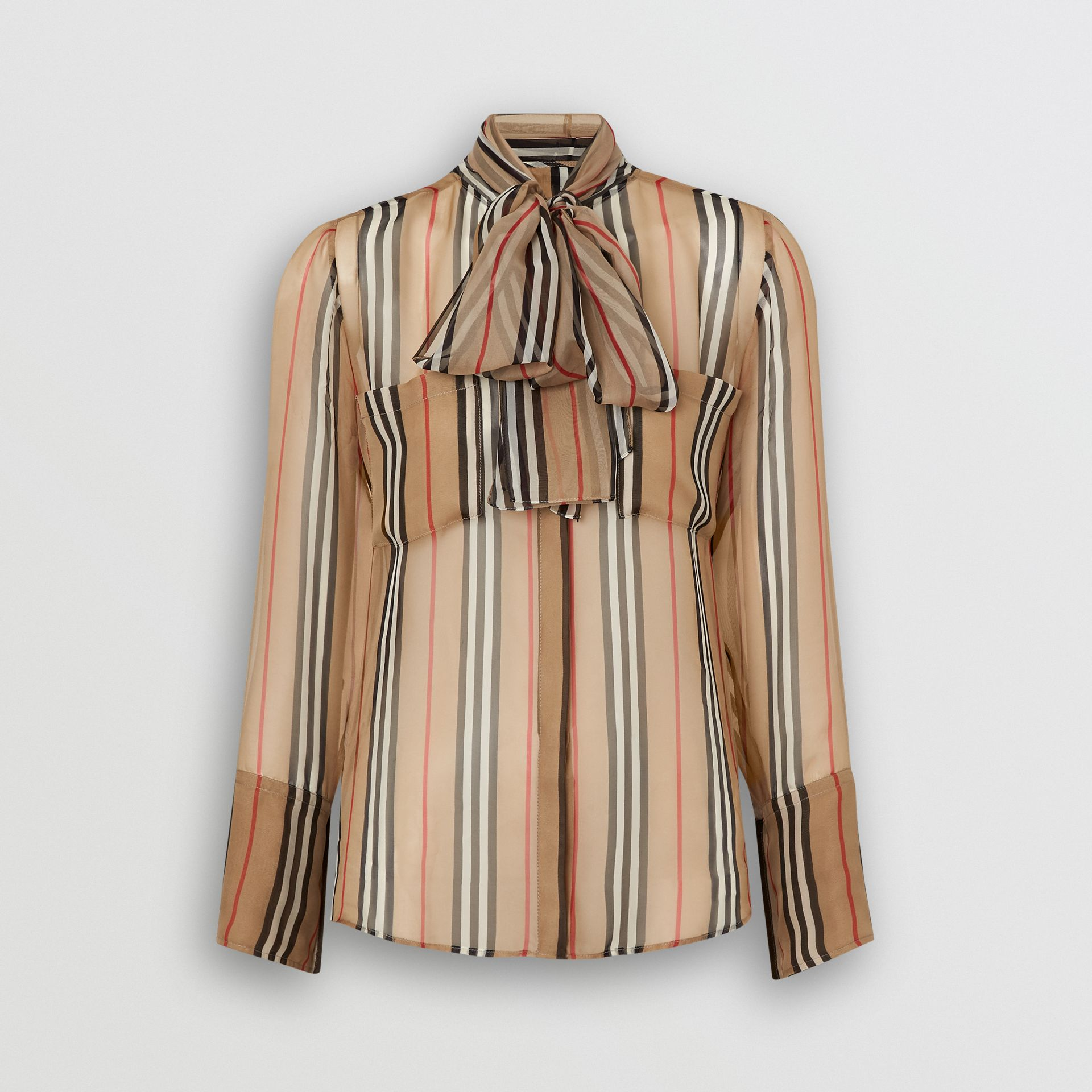 Icon Stripe Silk Pussy-bow Blouse in Antique Yellow - Women | Burberry Australia - gallery image 4