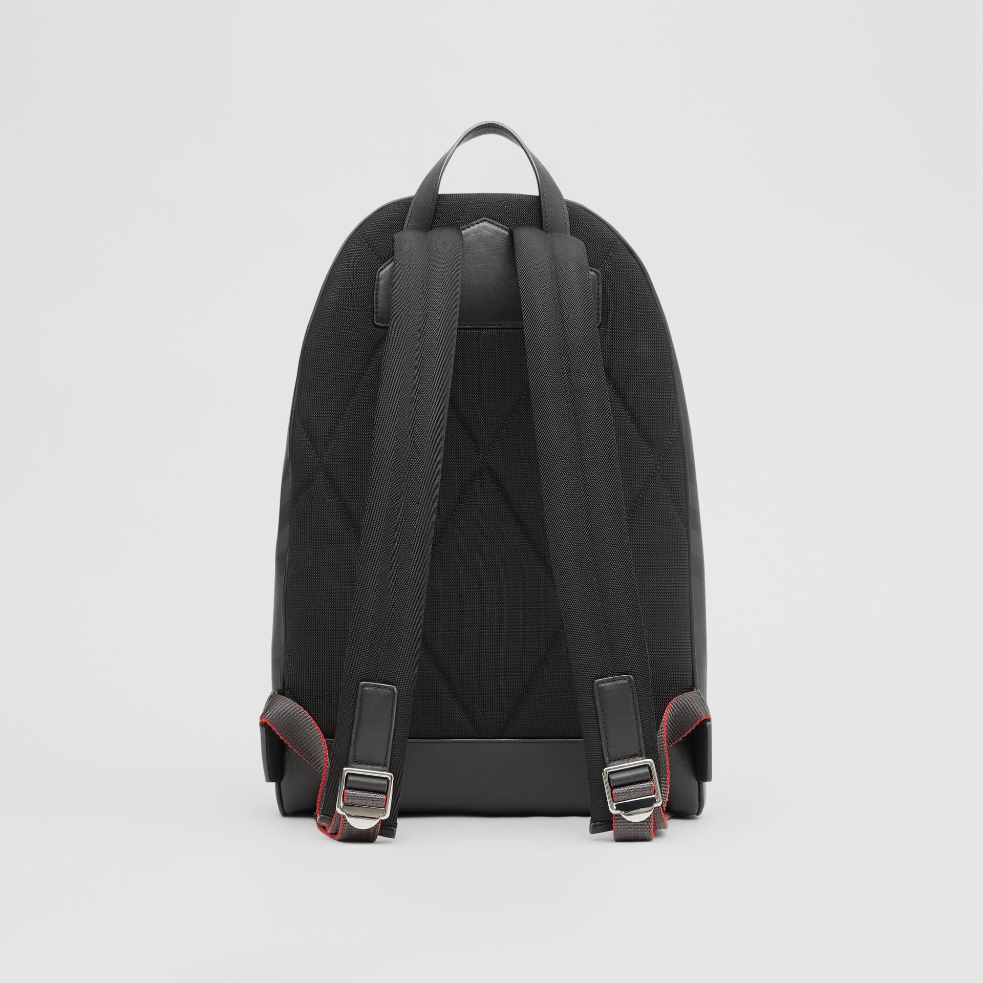 London Check and Leather Backpack in Dark Charcoal - Men | Burberry United Kingdom - gallery image 9