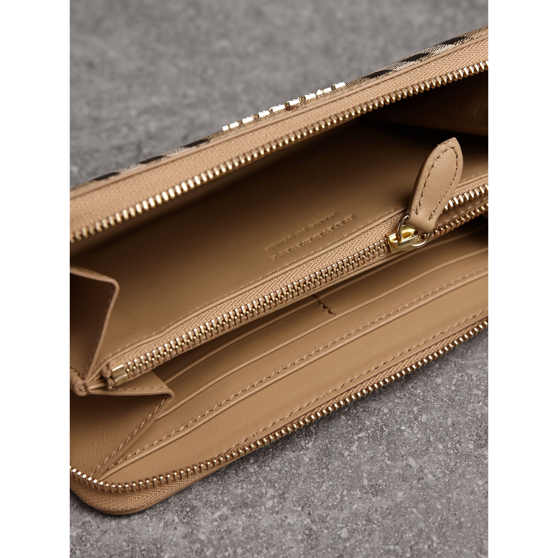 Haymarket Check and Leather Ziparound Wallet in Mid Camel - Women | Burberry Singapore - gallery image 4