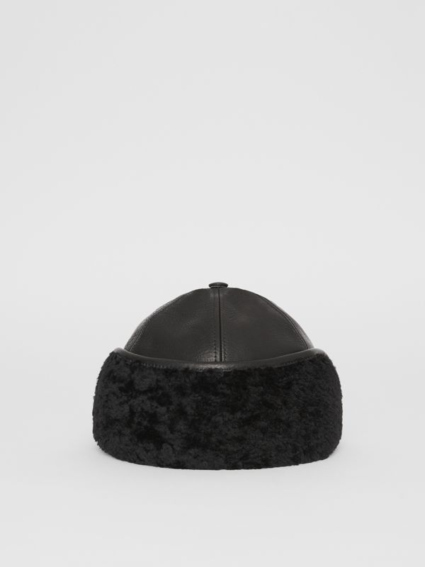 Shearling and Leather Baseball Cap in Black | Burberry Australia - cell image 3