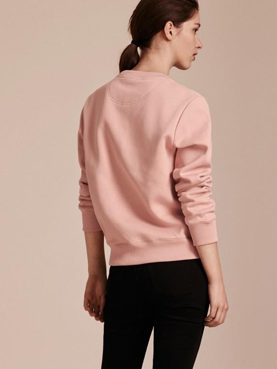 Embroidered Floral Motif Cotton Blend Sweatshirt Ash Rose - cell image 2