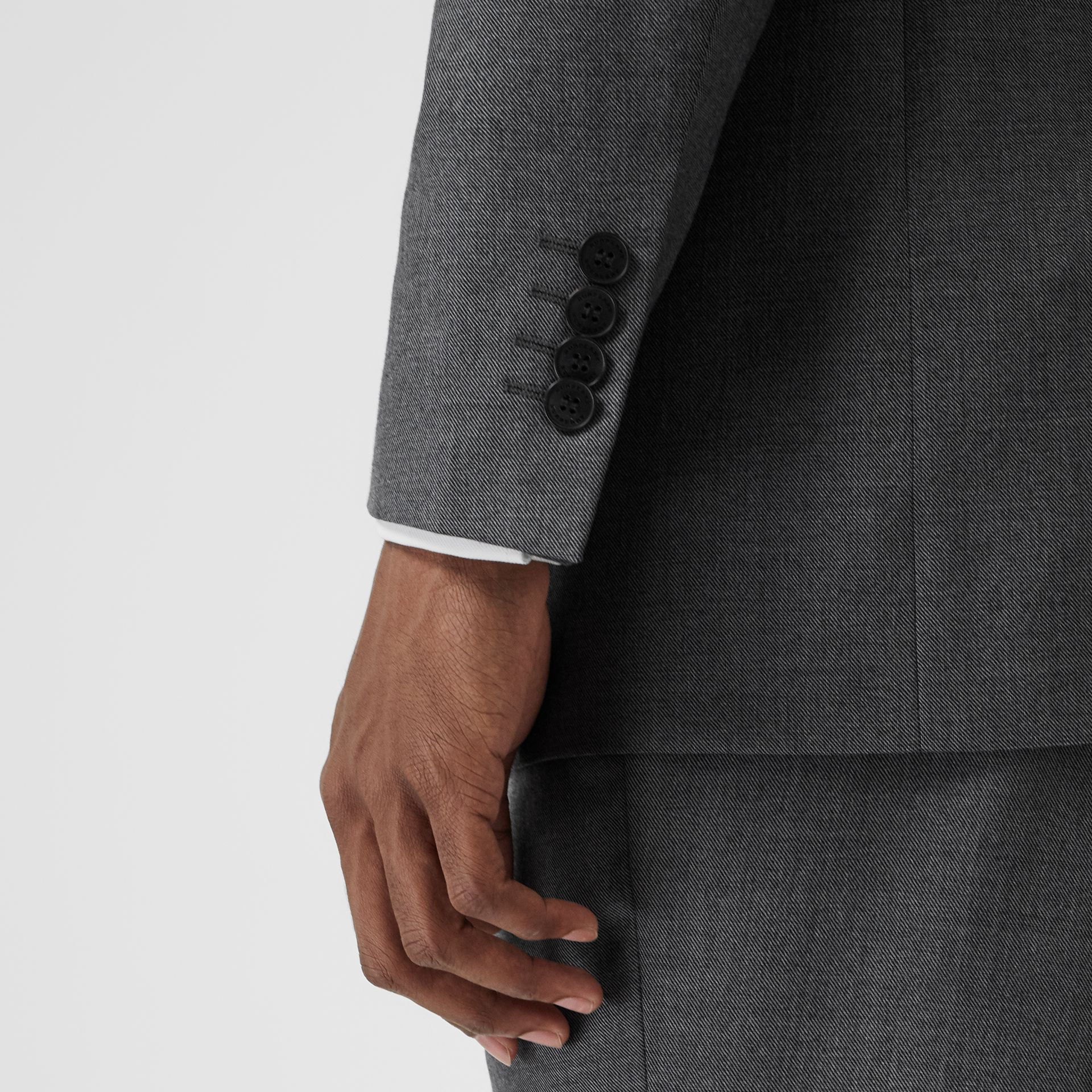 Classic Fit Sharkskin Wool Suit in Mid Grey Melange - Men | Burberry United Kingdom - gallery image 4