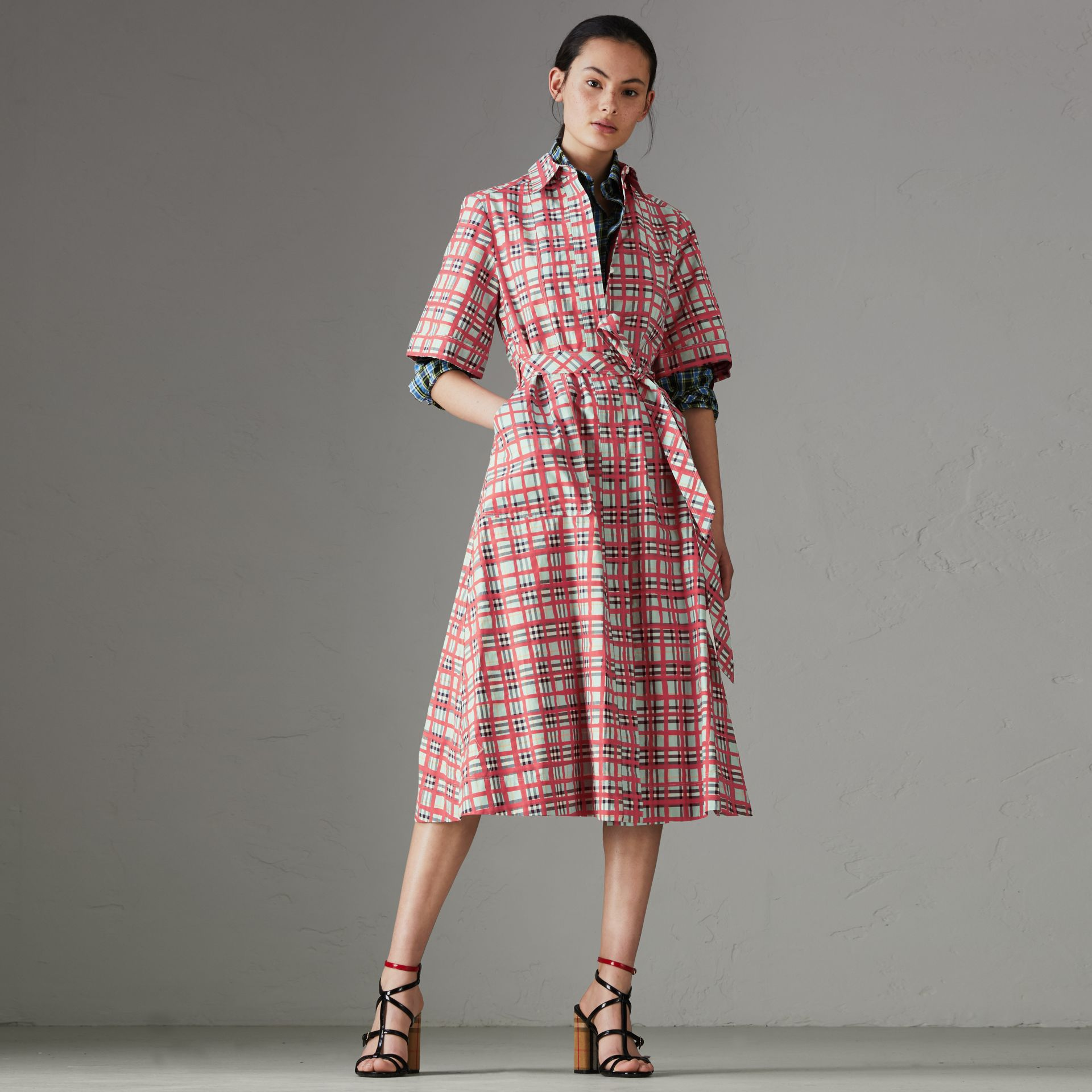 Painted Check Cotton Shirt Dress in Bright Aqua - Women | Burberry - gallery image 0