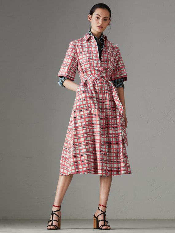 Painted Check Cotton Shirt Dress in Bright Aqua