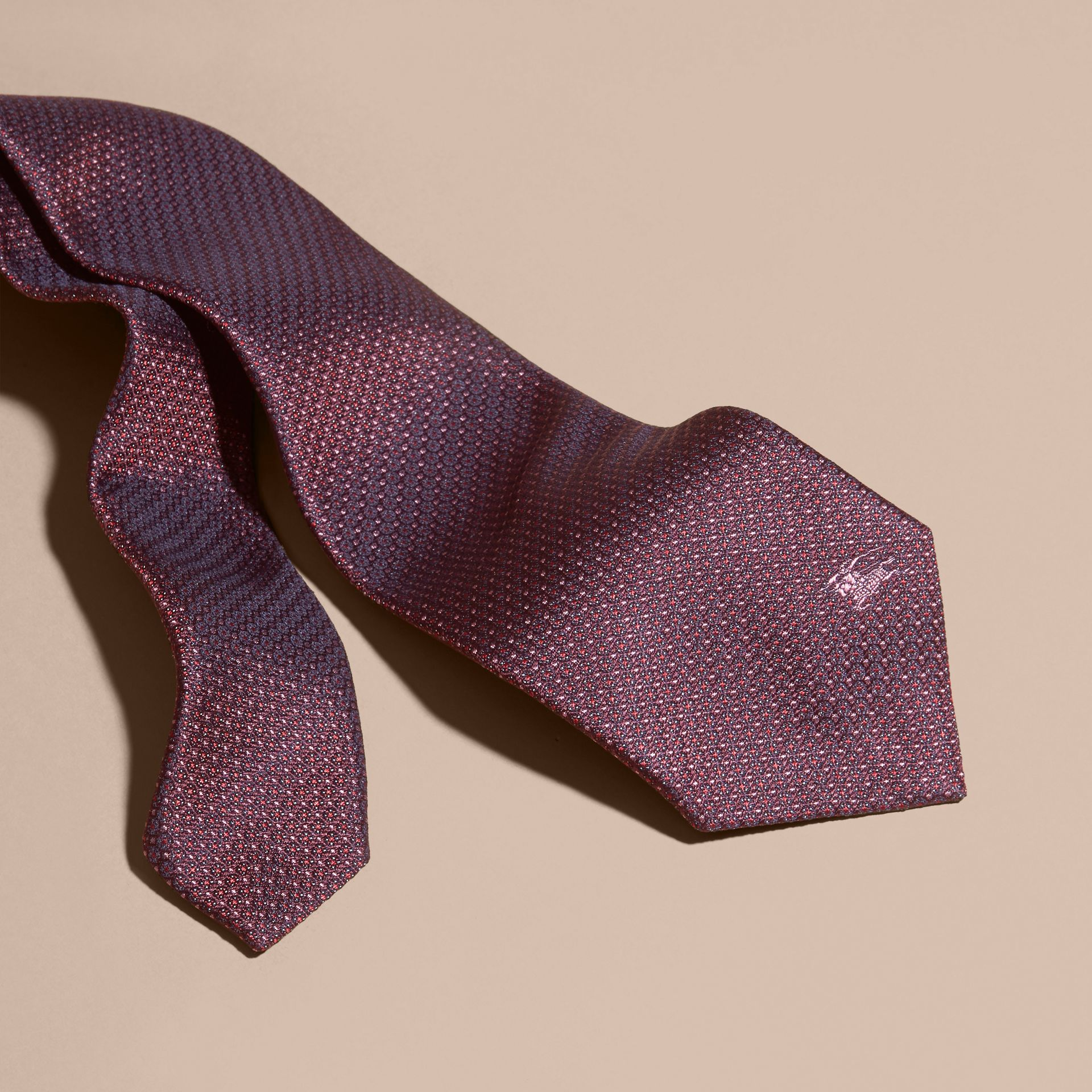 Modern Cut Patterned Silk Tie in Deep Claret - gallery image 3