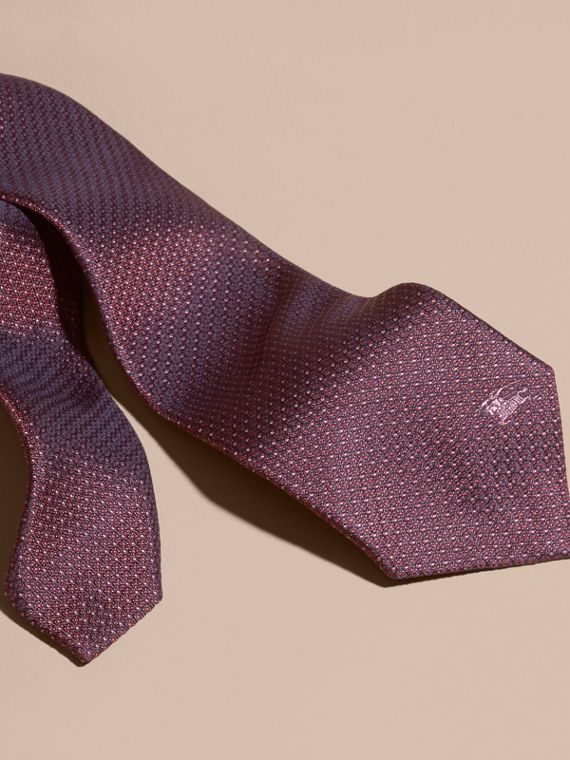 Modern Cut Patterned Silk Tie in Deep Claret - cell image 2