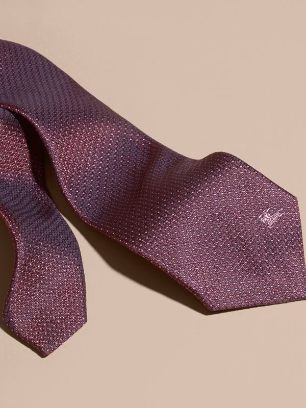 Modern Cut Patterned Silk Tie in Deep Claret - Men | Burberry - cell image 2