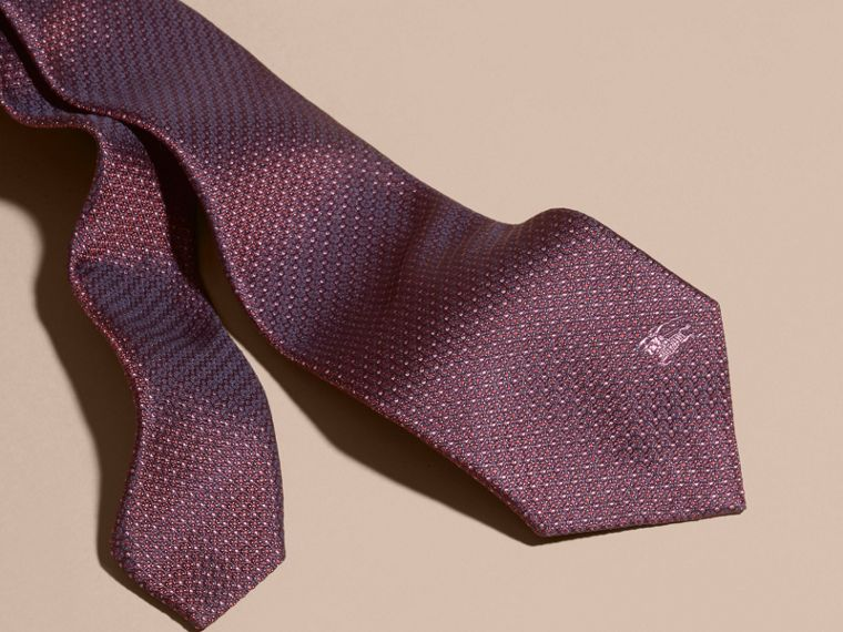 Deep claret Modern Cut Patterned Silk Tie Deep Claret - cell image 1