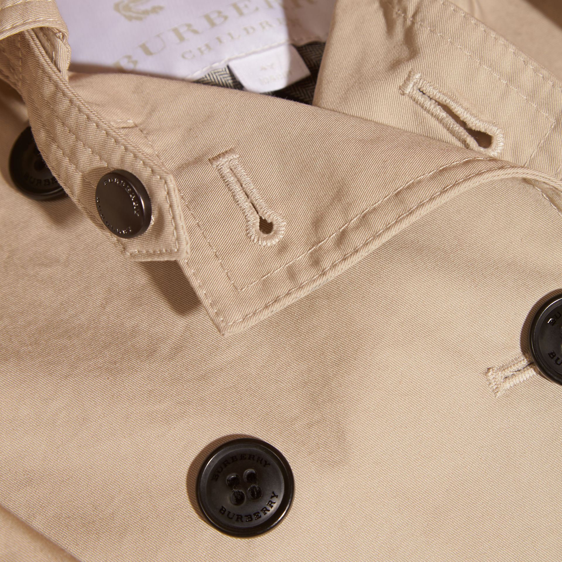 Stone Hooded Cotton Trench Coat Stone - gallery image 2