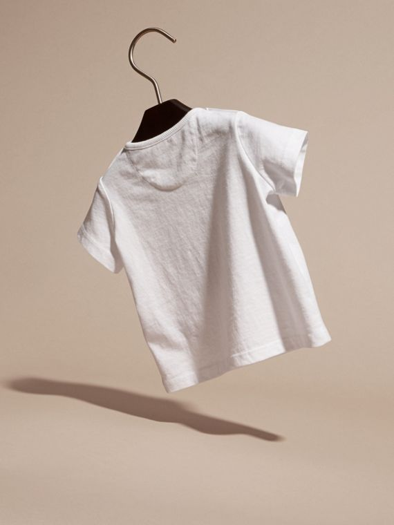 Bianco T-shirt in cotone con scarabeo - cell image 3