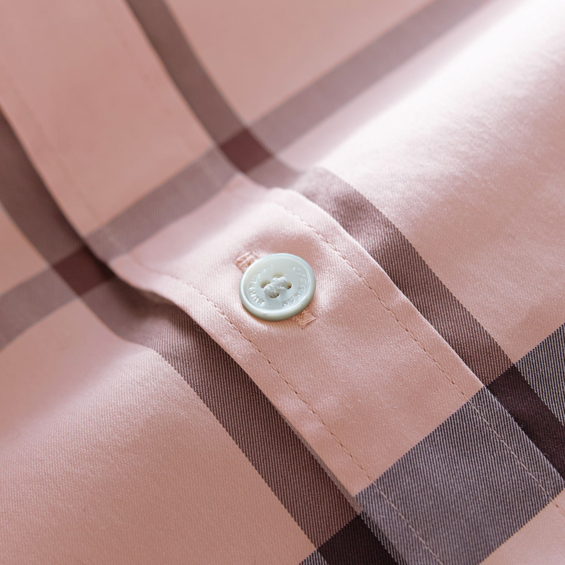 Check Stretch Cotton Shirt in Chalk Pink - Men | Burberry - gallery image 2