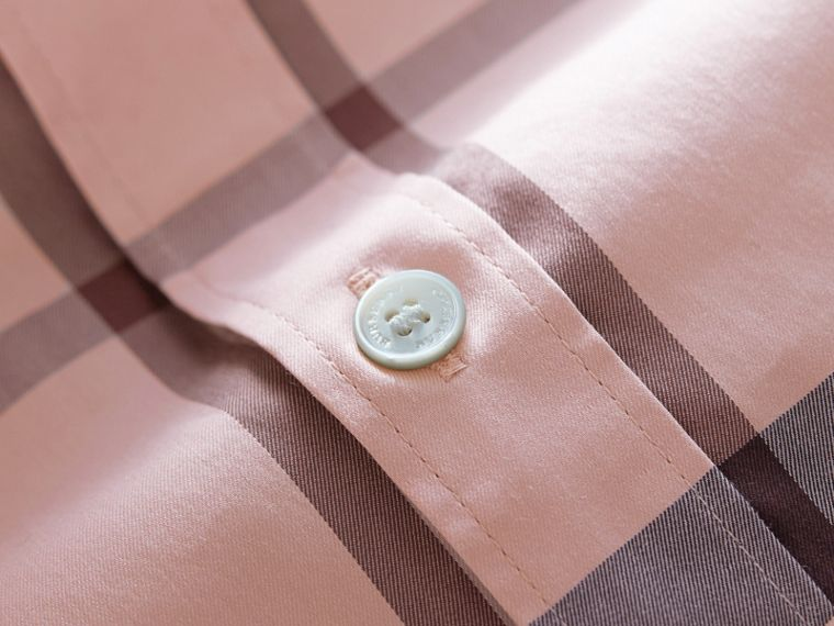 Check Stretch Cotton Shirt in Chalk Pink - Men | Burberry - cell image 1