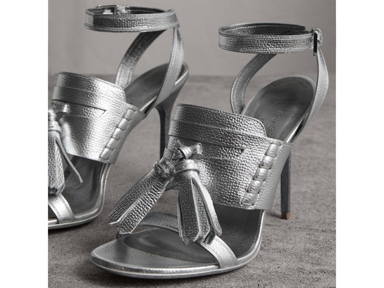 Tasselled Metallic Leather Sandals in Silver - Women | Burberry United States - cell image 4