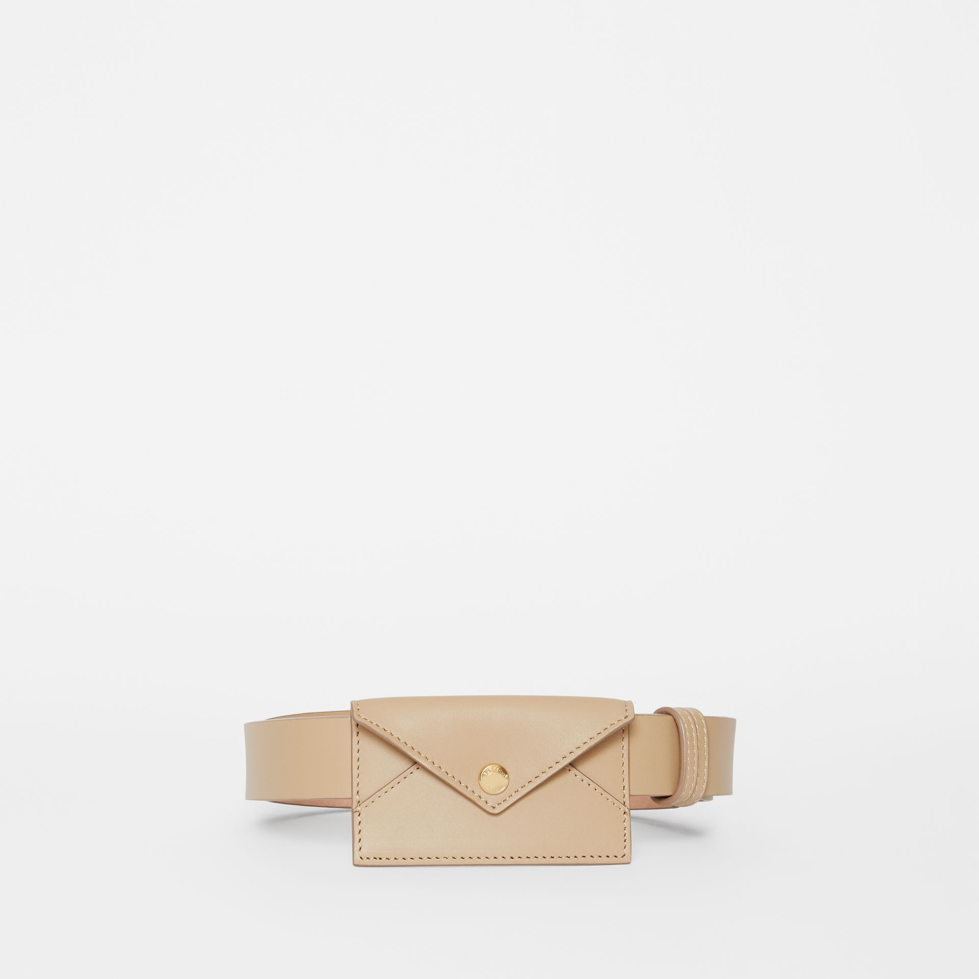 Envelope Detail Leather Belt in Latte - Women | Burberry - gallery image 2