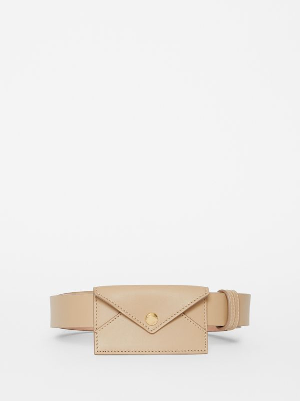 Envelope Detail Leather Belt in Latte - Women | Burberry - cell image 3