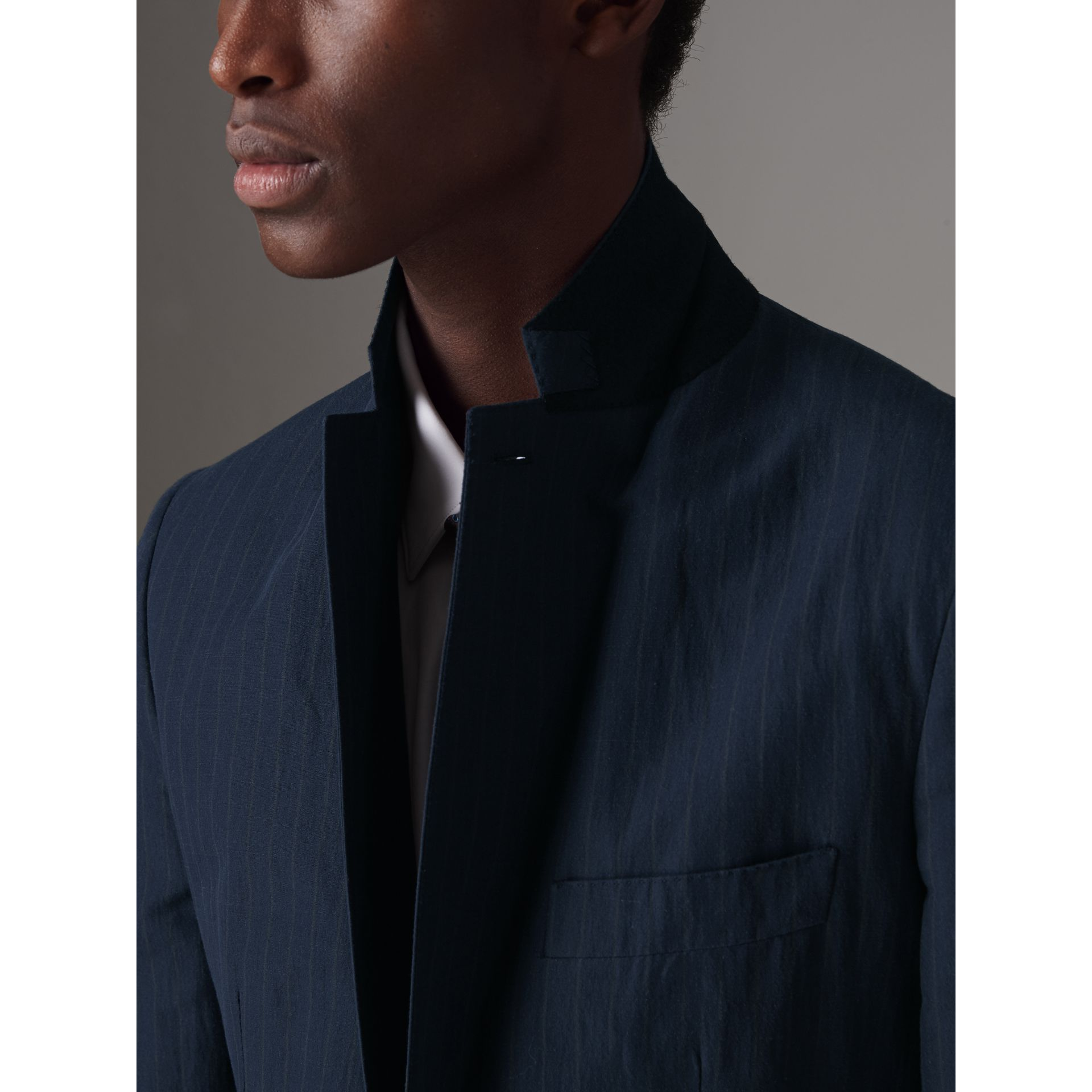 Slim Fit Pinstripe Ramie Cotton Suit in Navy - Men | Burberry Singapore - gallery image 5