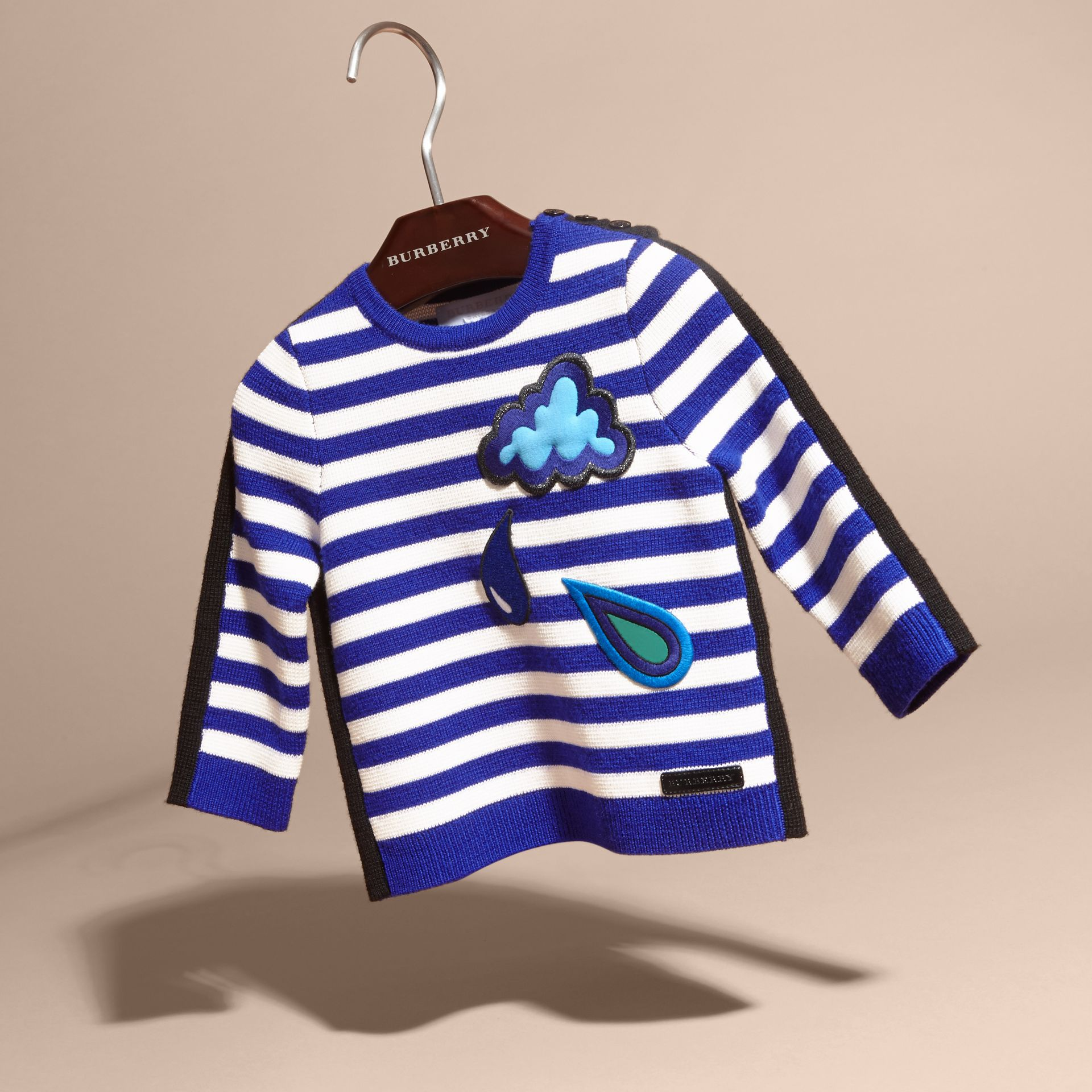 Striped Cotton Merino Wool Sweater with Appliqué - gallery image 3