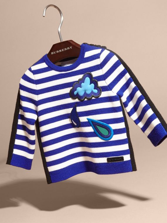 Striped Cotton Merino Wool Sweater with Appliqué - cell image 2