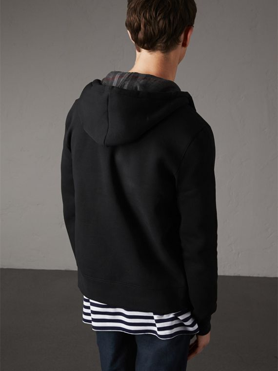 Hooded Cotton Jersey Top in Black - Men | Burberry Hong Kong - cell image 2