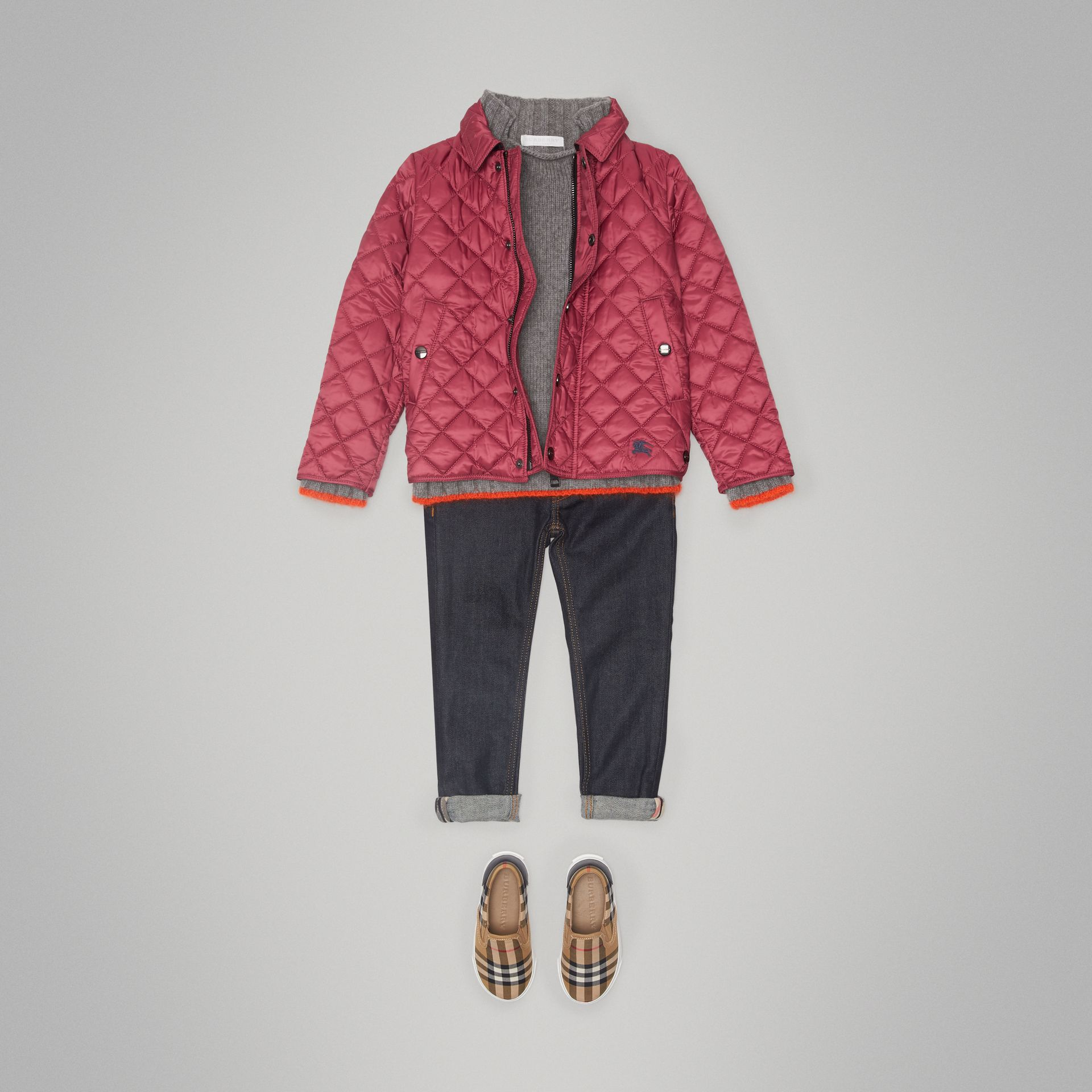 Lightweight Diamond Quilted Jacket in Peony Rose - Girl | Burberry Australia - gallery image 2