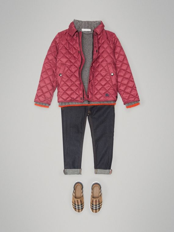Lightweight Diamond Quilted Jacket in Peony Rose