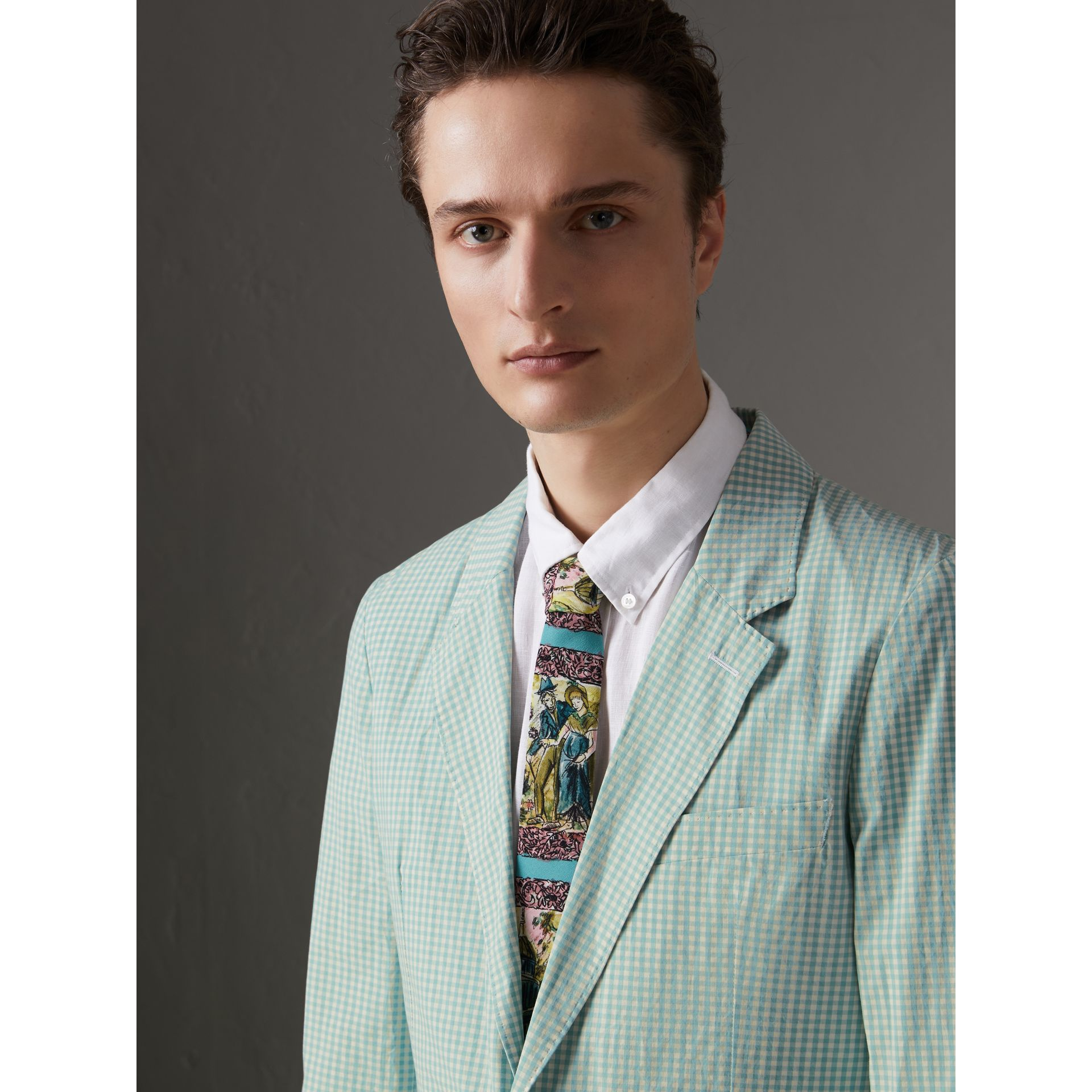 Slim Cut Figurative Print Silk Tie in Turquoise Green - Men | Burberry United Kingdom - gallery image 2