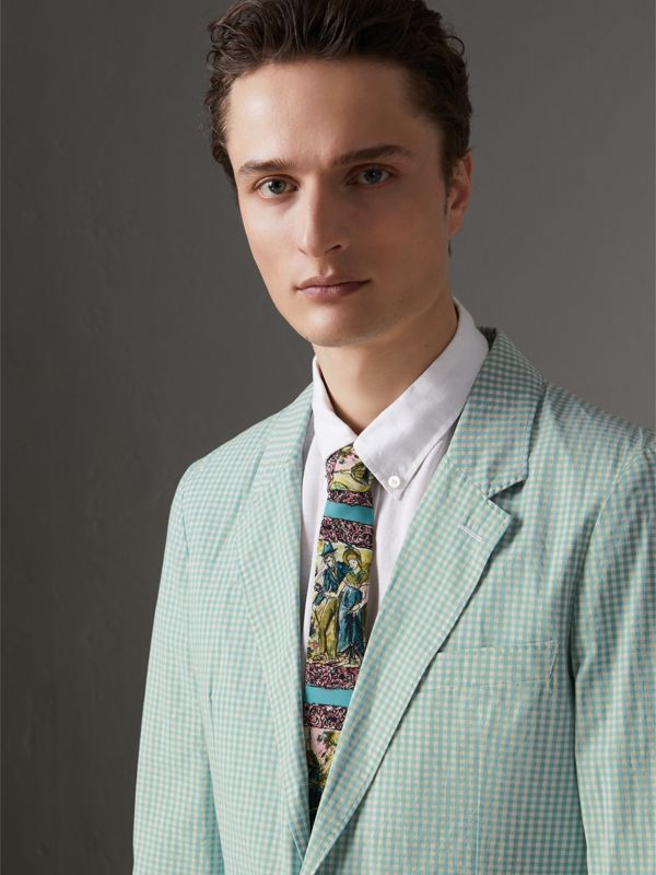 Slim Cut Figurative Print Silk Tie in Turquoise Green - Men | Burberry United Kingdom - cell image 2