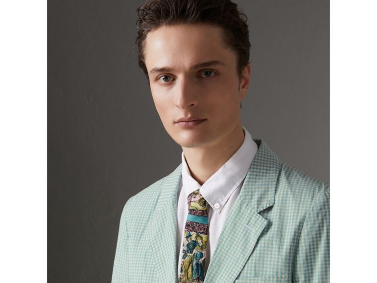 Slim Cut Figurative Print Silk Tie in Turquoise Green - Men | Burberry - cell image 2