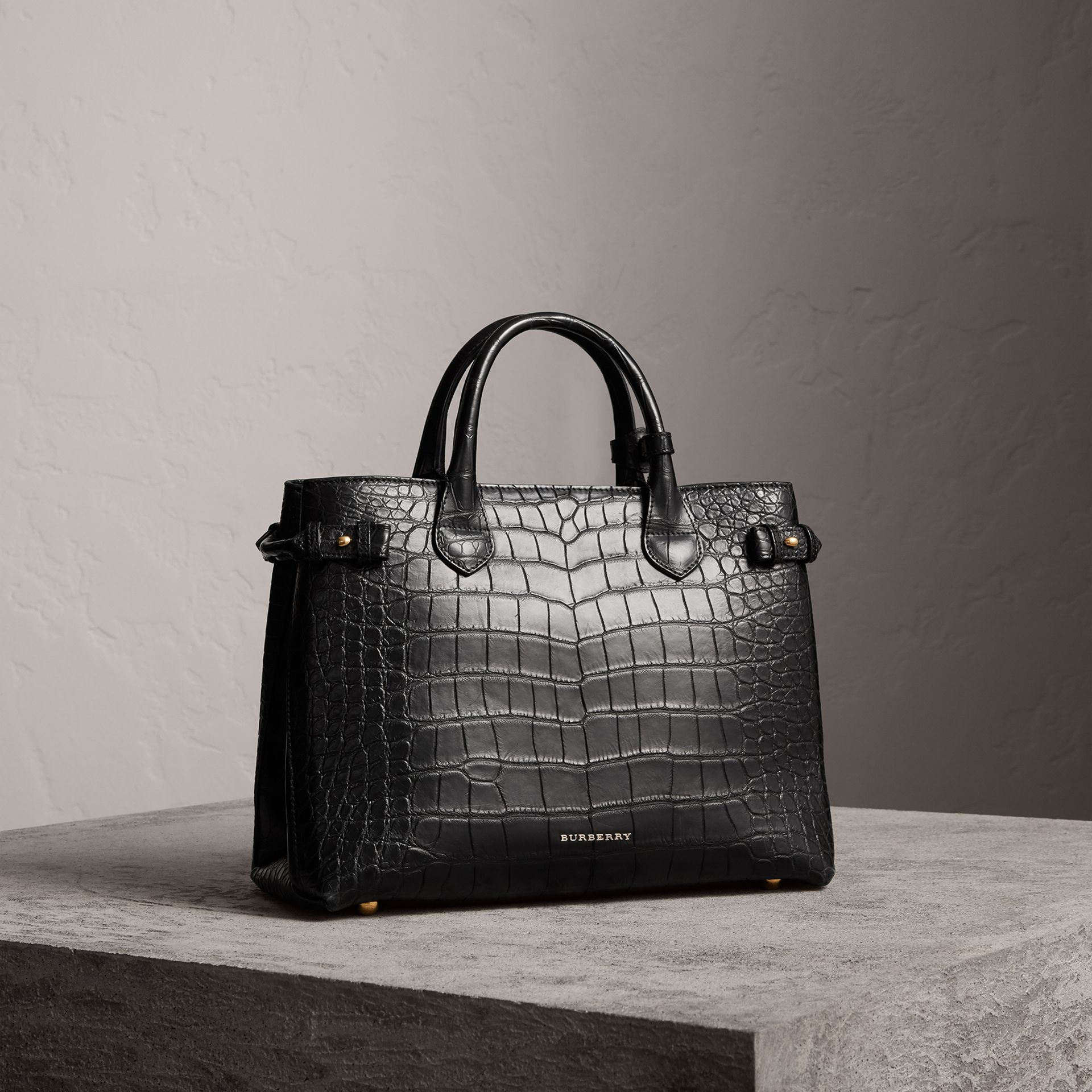 The Medium Banner in Alligator in Black - Women | Burberry - gallery image 0