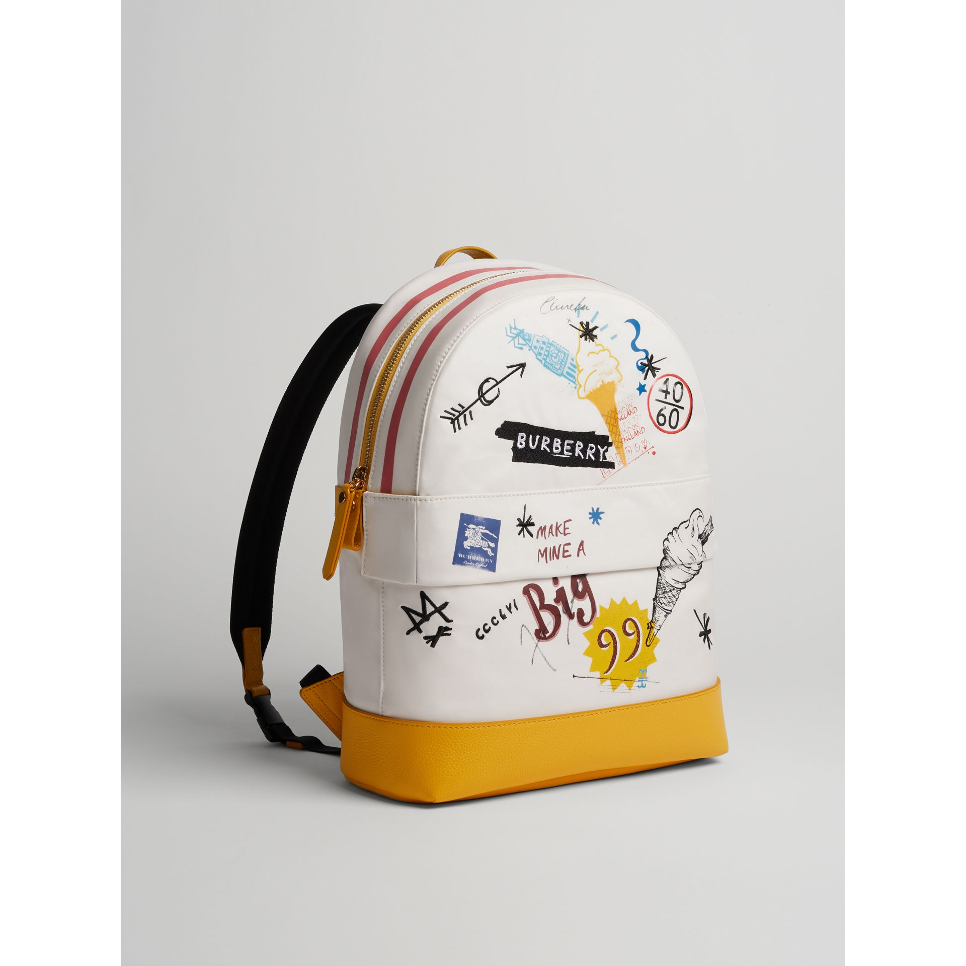 Ice-cream Print Cotton Canvas Backpack in Larch Yellow | Burberry United Kingdom - gallery image 4