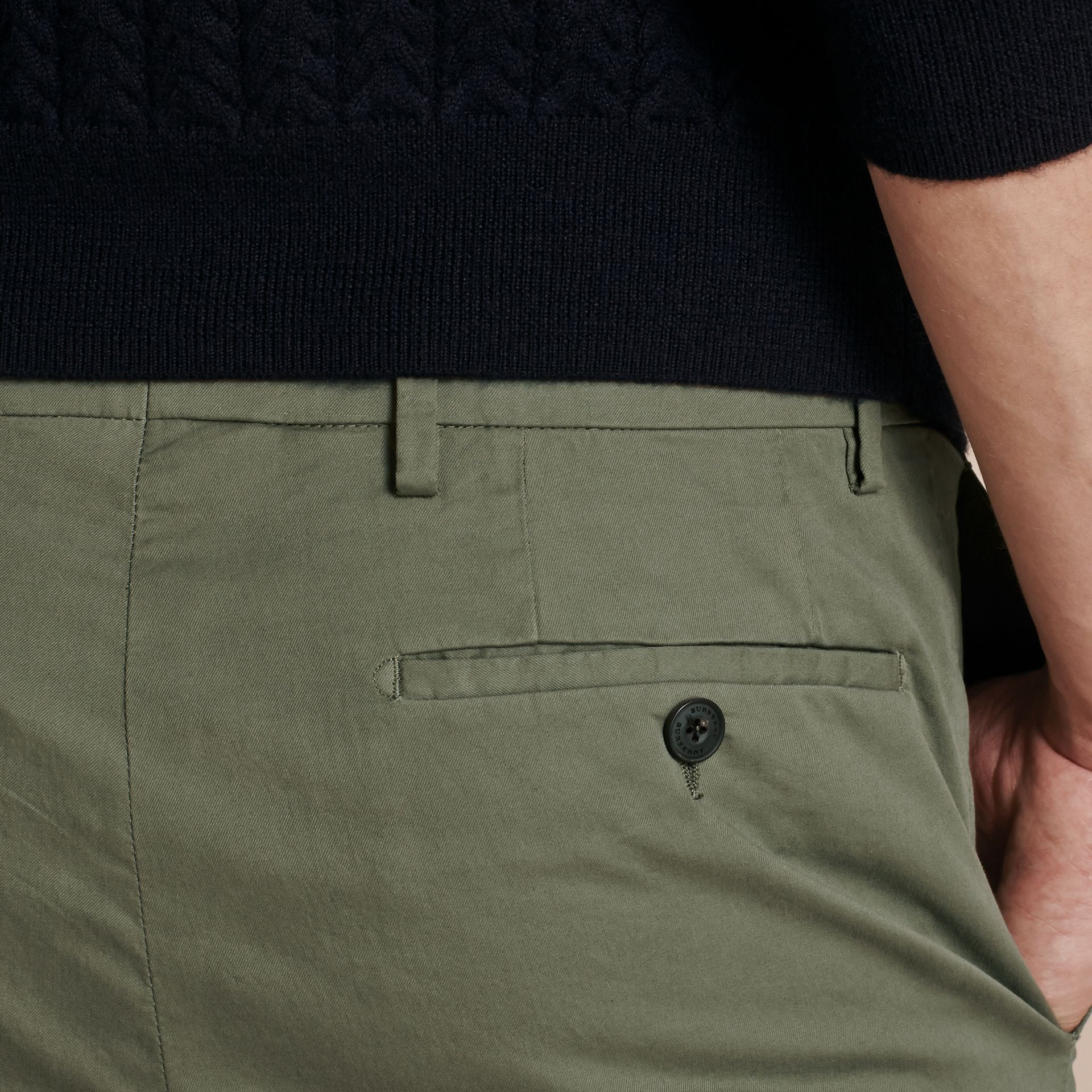Slim Fit Stretch Cotton Trousers Khaki Green - gallery image 5