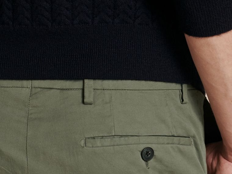 Slim Fit Stretch Cotton Trousers Khaki Green - cell image 4