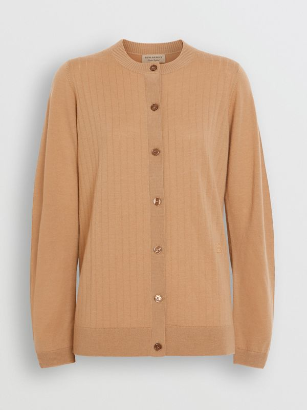 Rib Knit Cashmere Cardigan in Camel - Women | Burberry United Kingdom - cell image 3