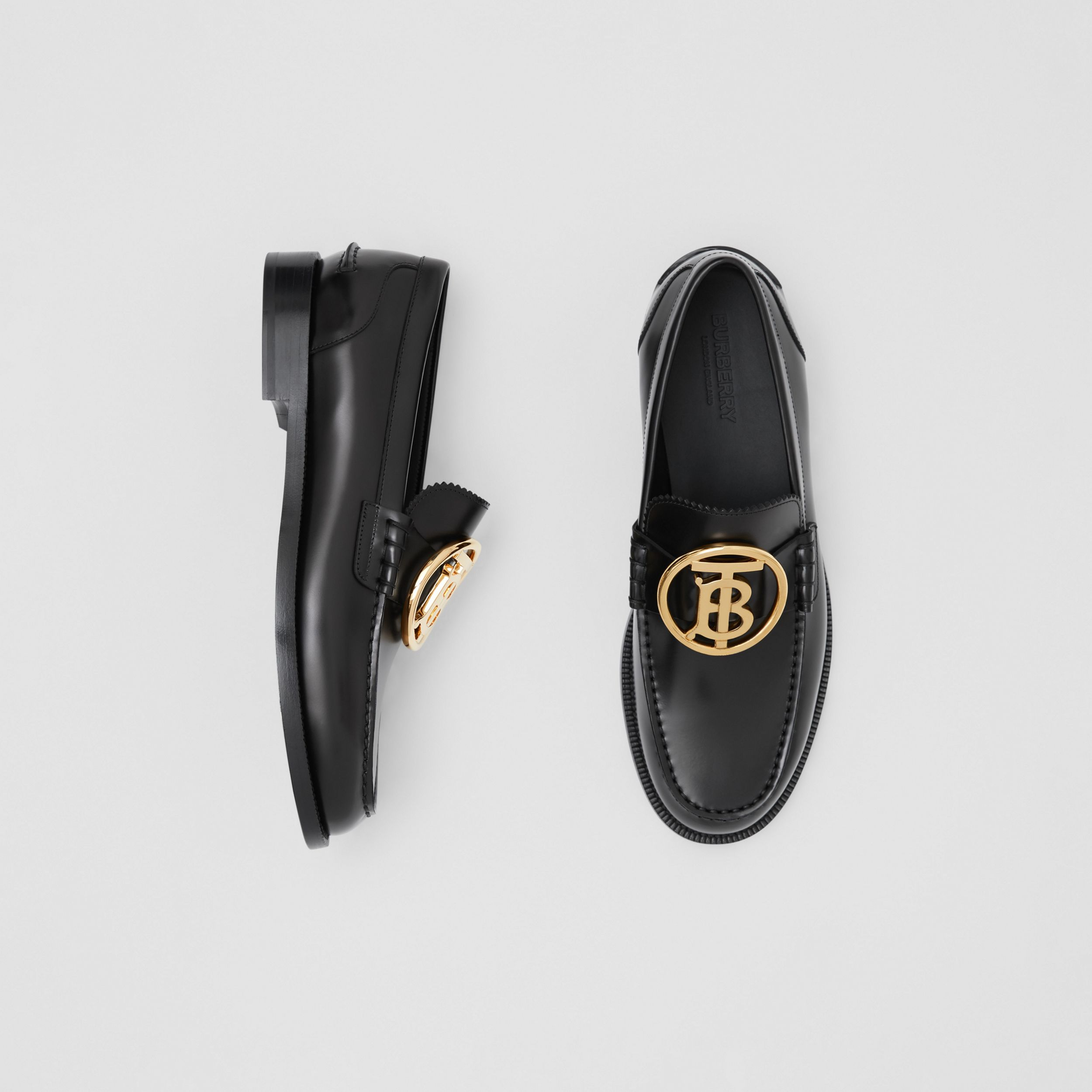 Monogram Motif Leather Loafers in Black - Men | Burberry Canada - 1