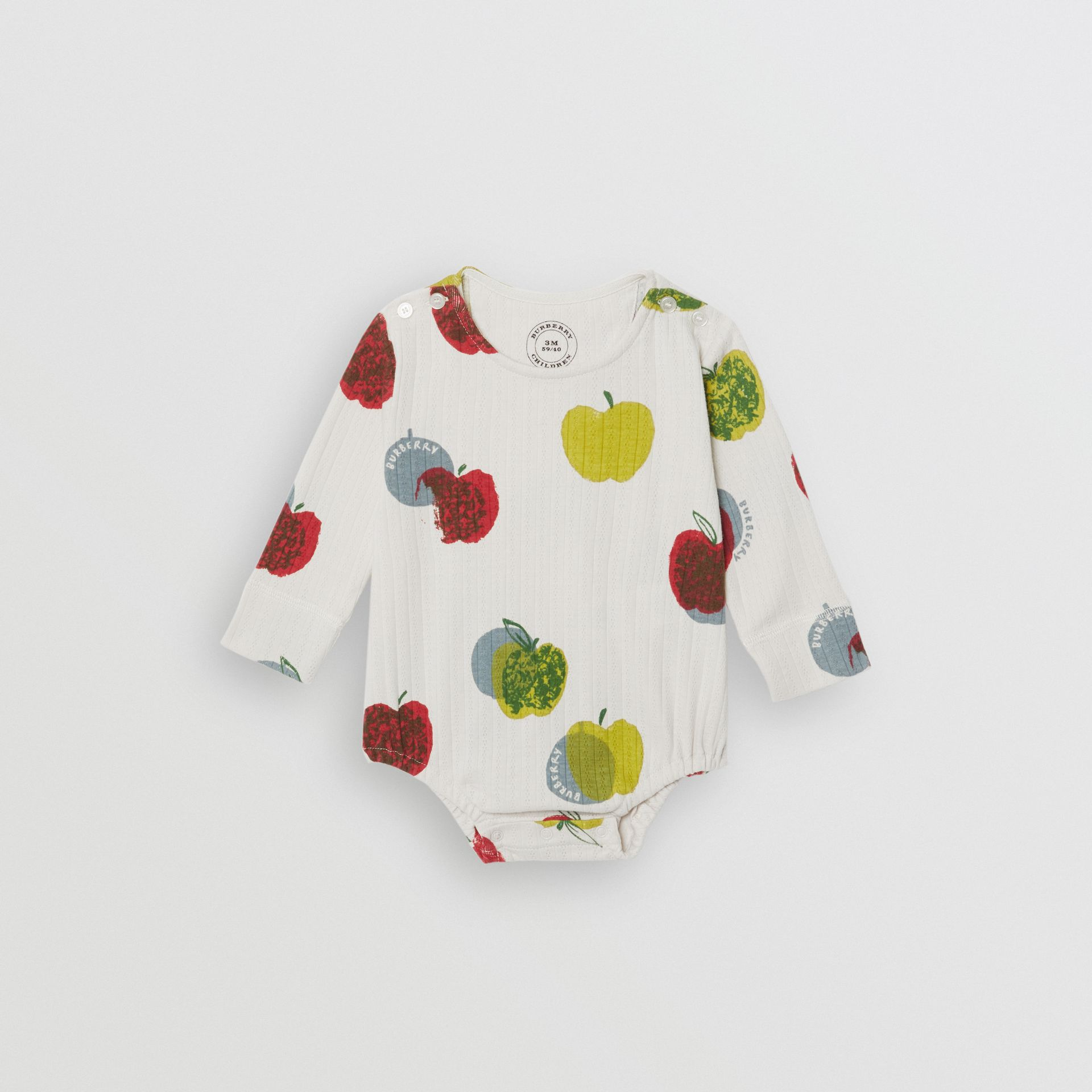 Apple and Floral Print Three-piece Baby Gift Set in Stone - Children | Burberry United States - gallery image 2
