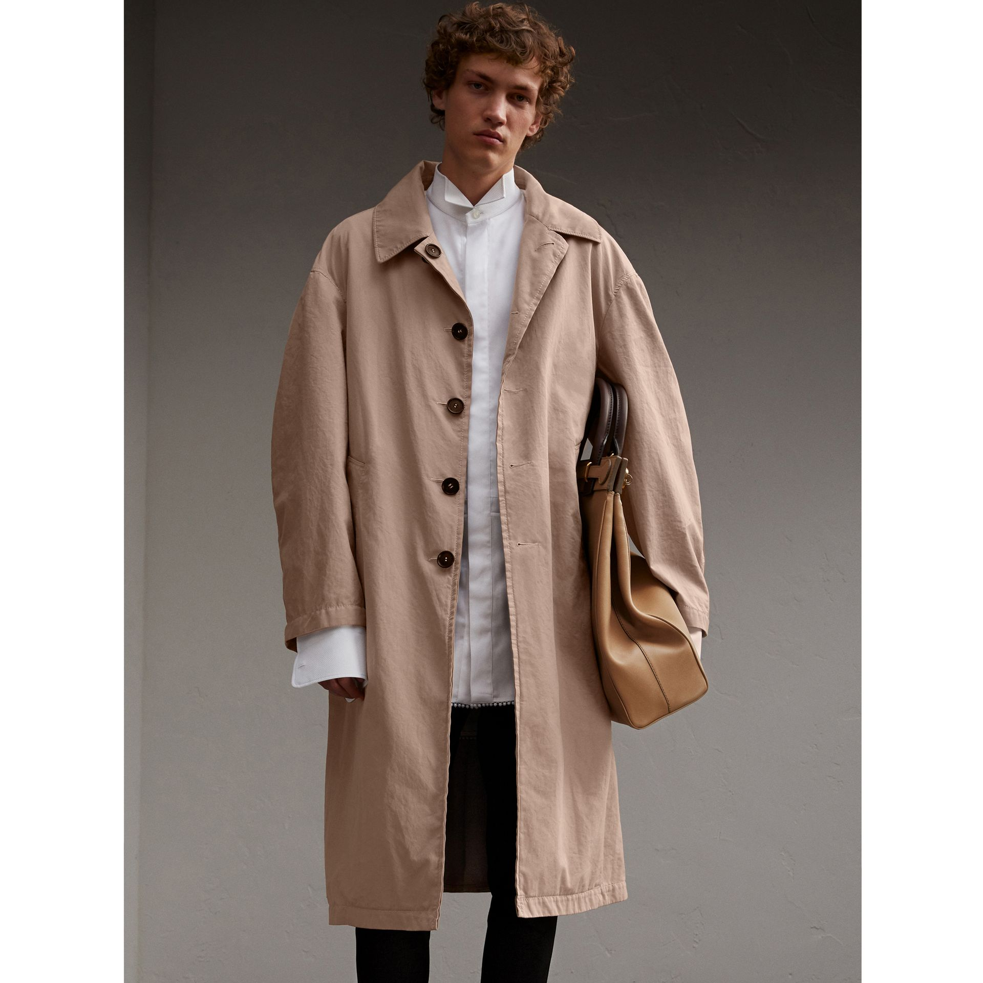 Unisex Tropical Gabardine Car Coat in Antique Taupe Pink - Men | Burberry - gallery image 1