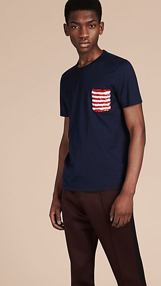 Cotton T-shirt with Sequin Stripe Detail