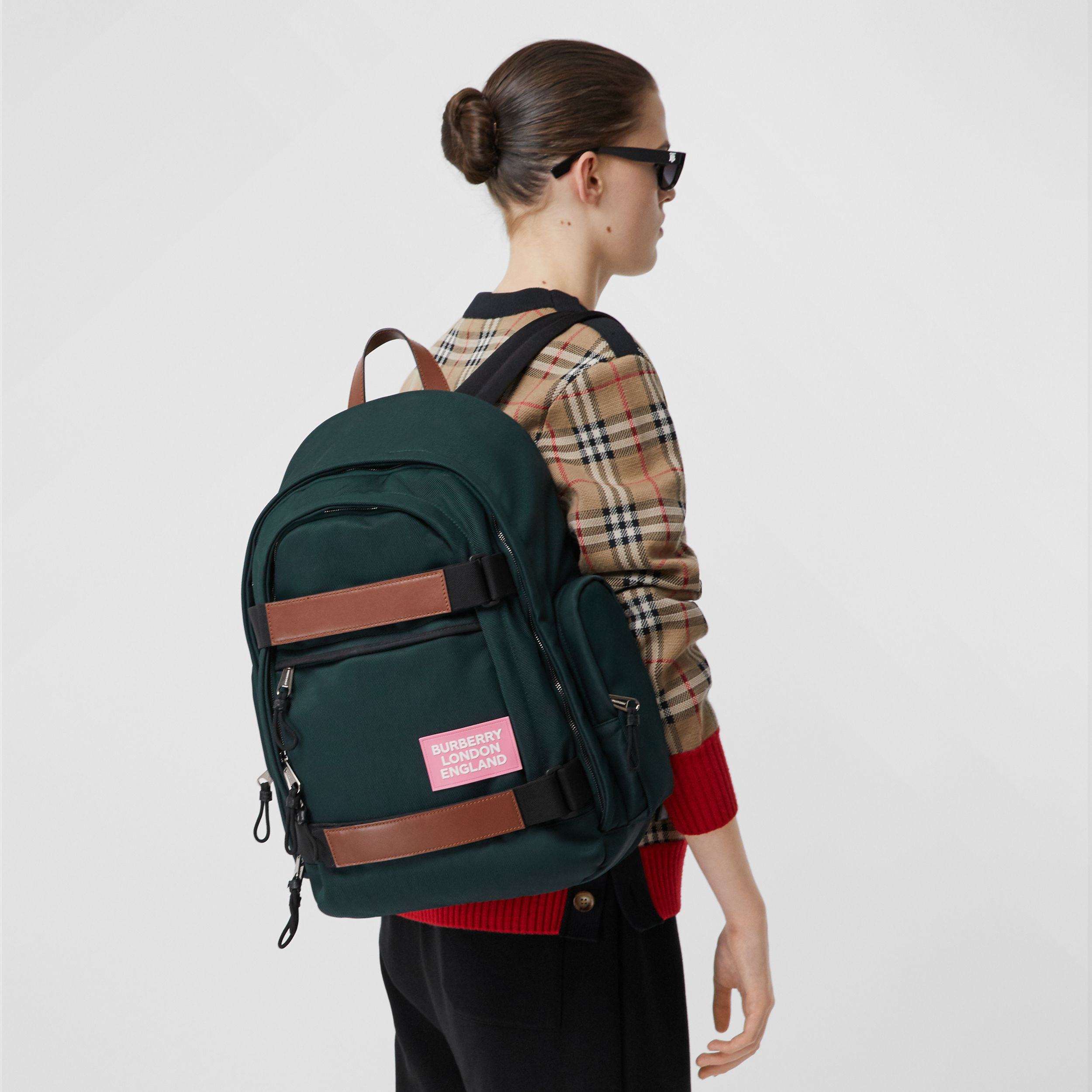 Large Leather Trim Nylon Nevis Backpack in Dark Pine Green | Burberry - 3