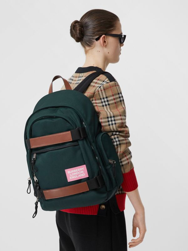 Large Leather Trim Nylon Nevis Backpack in Dark Pine Green | Burberry United Kingdom - cell image 2