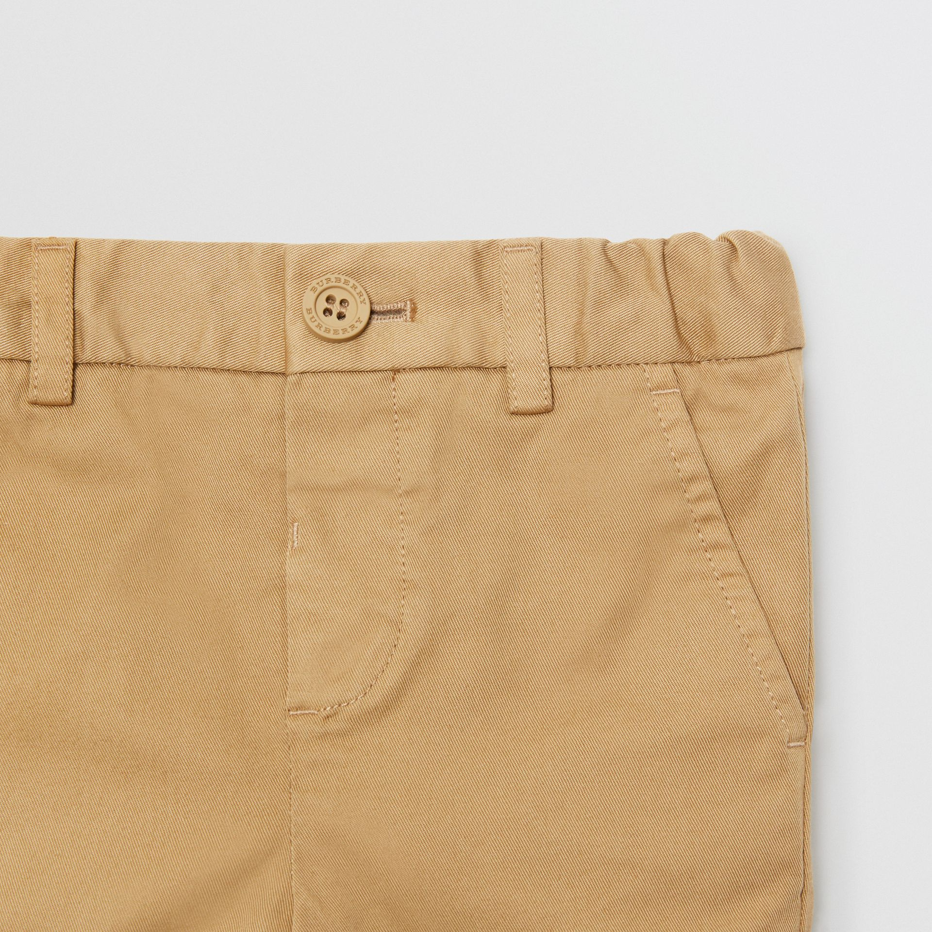 Cotton Chino Shorts in Taupe - Children | Burberry - gallery image 4
